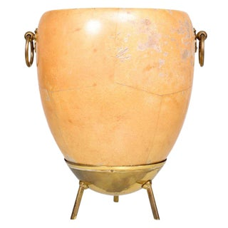 1950s Aldo Tura Goatskin and Brass Ice/Champagne Bucket, Midcentury For Sale