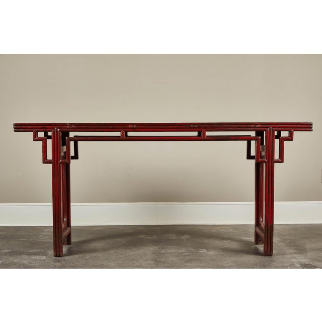 18th C. Chinese Red Lacquer Elm Altar Table For Sale - Image 9 of 9