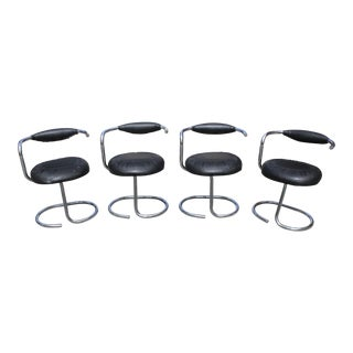 Beautiful Set of 4 French Art Modern Chrome Dining Chair Circa 1970s.
