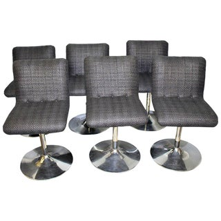 1970s Italian Swivel Bar Stools - Set of 6 For Sale