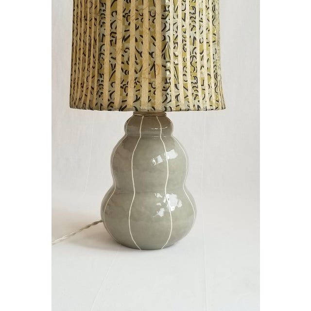Gray Table Lamp With Pinstripes For Sale In Seattle - Image 6 of 8