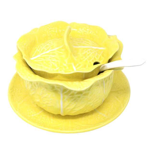 Vintage Secla Yellow Cabbage Soup Tureen With Lid, Ladle and Underplate - Set of 4 For Sale