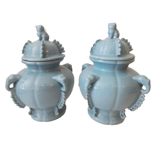 Blue Foo Dog Ginger Jars - A Pair - Image 1 of 5