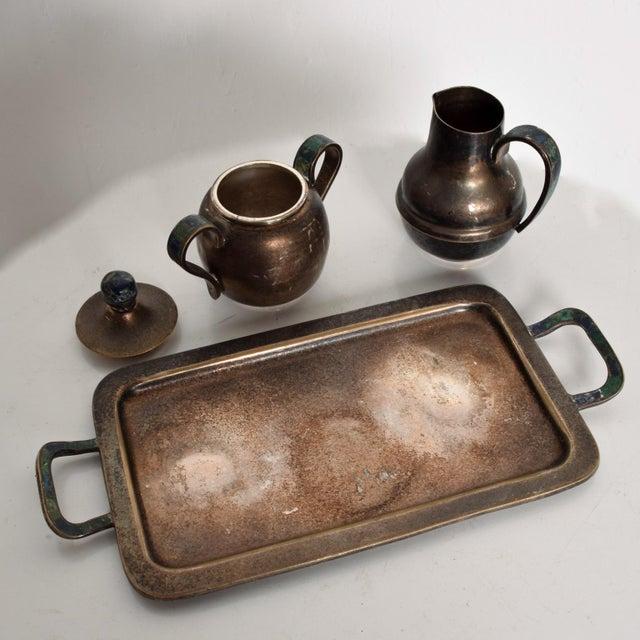 Blue Los Castillo Coffee Tea Serving Set Silverplate & Malachite Azurite Stone Mexican Mid Century For Sale - Image 8 of 11