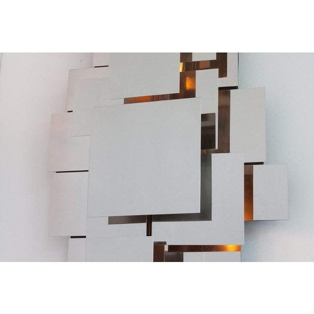 Silver Polished Steel Wall-Light Sculpture or Sconce Attr. Reggiani For Sale - Image 8 of 11