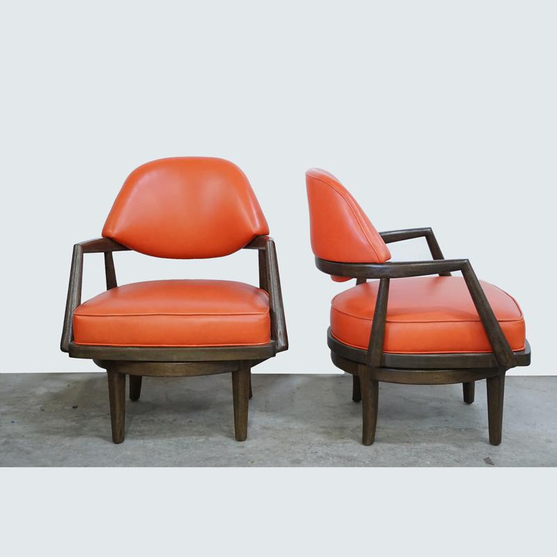 Exceptionnel Orange Leather Swivel Chair   Image 5 Of 5