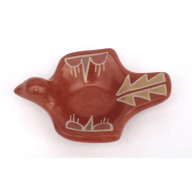 Rustic Santa Clara Pottery Redware Bird Bowl For Sale - Image 3 of 6