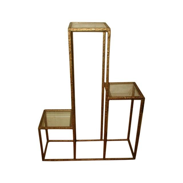 Gilt Metal & Glass 3 Tier Shelf Table - Image 1 of 9