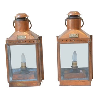 English Copper Lantern Sconces, a Pair For Sale