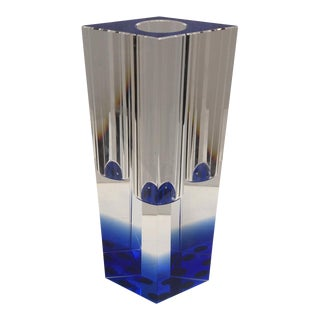 Contemporary Blue Colored Crystal Vase For Sale