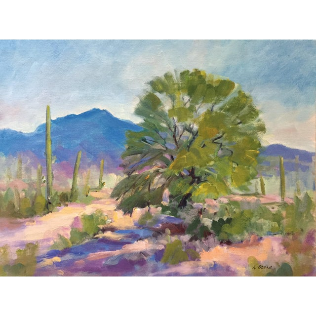 Southwest Landscape With Cactus and Mesquite Tree by Scola - Image 2 of 6