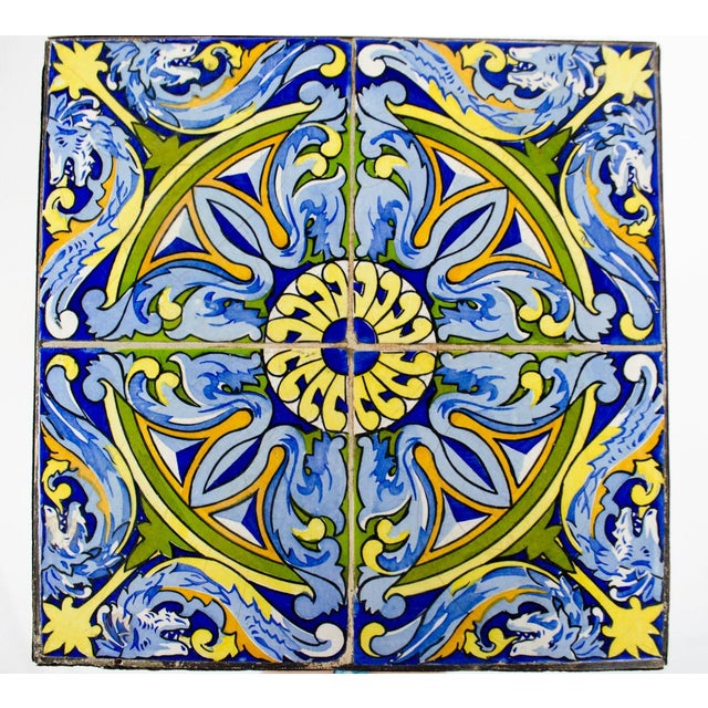 20th Century Spanish Tile and Iron Side Occasional Table For Sale - Image 4 of 12