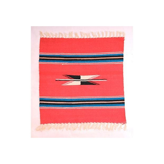 Vintage souvenir hand woven wool Chimayo weaving from New Mexico. Measurement includes fringe.