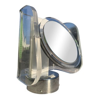 Atomic Space Age Lucite Chrome Vanity Mirror For Sale