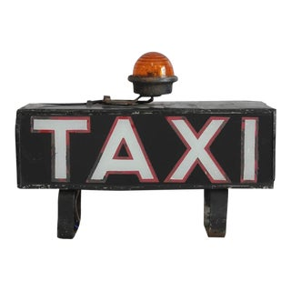 "Early 1900s Light Up ""Taxi"" Sign For Sale"