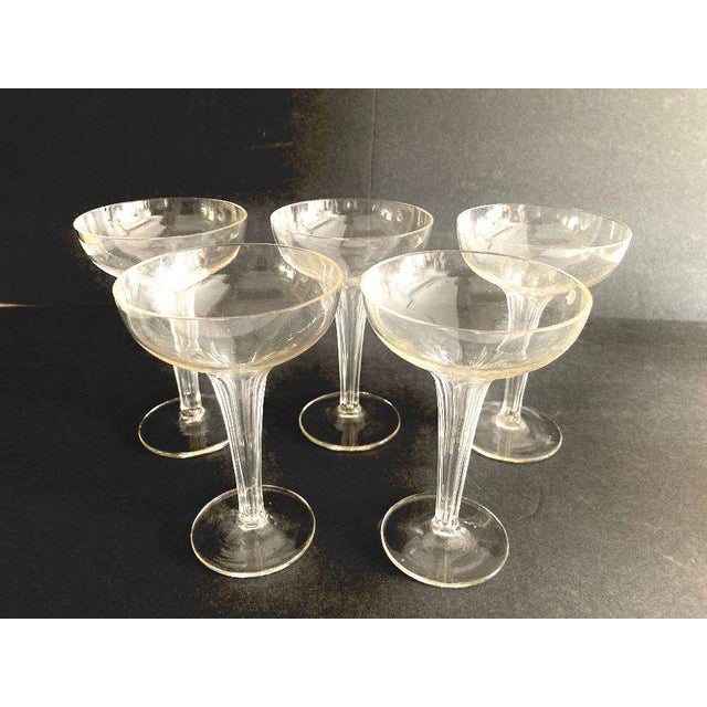 1960s Mid-Century Ribbed Hollow Stem Champagne Glasses - Set of 5 For Sale - Image 5 of 7