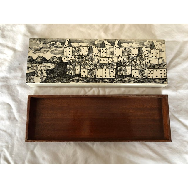"""Decorative box made of wood and metal, motif """"città di carte"""", handcrafted in the Fornasetti studios in Milan, black and..."""