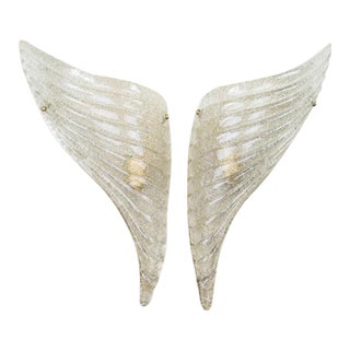 Barovier & Toso Italian Murano Glass Winged Wall Sconces - a Pair For Sale