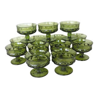Mid-Century Indiana Glass Green Kings Crown Dessert Goblets - Set of 13 For Sale