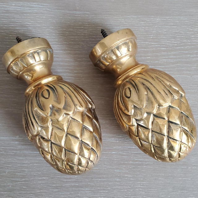 Brass Curtain Tie Back Finials - a Pair For Sale - Image 4 of 8
