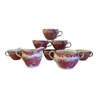 "Vintage Alfred Meakin Stafordshire England ""The Courtship"" Red Pink Transferware Set - Set of 10 For Sale"