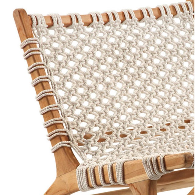 Back ordered until the end of October Beautiful teak frame easy chair with hand woven rope seat and back. Contemporary...