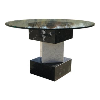 Modern Stacked Marble Cube Dining Table With Glass Top For Sale