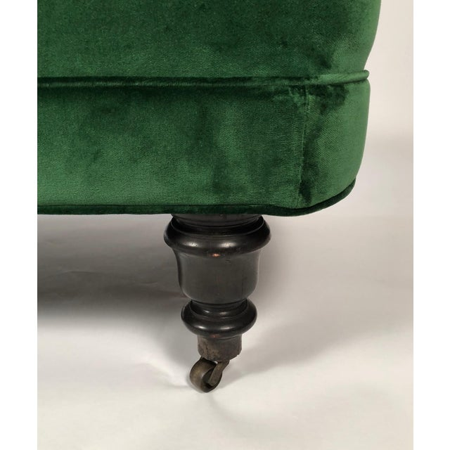 Late 19th Century 19th Century Chaise Longue in Emerald Green Velvet For Sale - Image 5 of 8