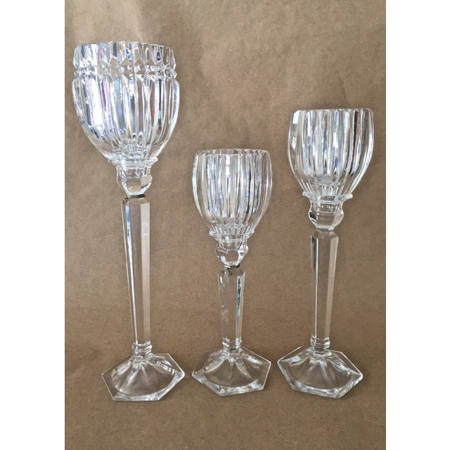 Glass Vintage Crystal Candle Holders - Set of 3 For Sale - Image 7 of 7