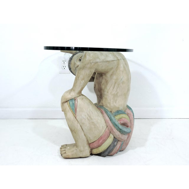Vintage Kneeling Polynesian Male Coffee or Side Table, Kidney Shaped Glass Top For Sale - Image 4 of 5