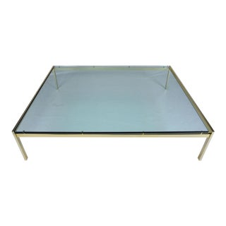Mid-Century Modern Glass & Brass Coffee Table For Sale