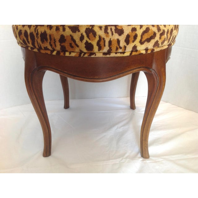 Vintage Italian Leopard Upholstered Vanity Stool For Sale - Image 10 of 13