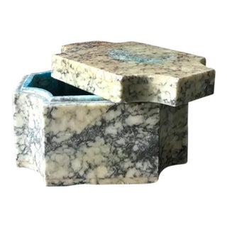 Stone Turquoise Blue Mid Century Trinketier Box
