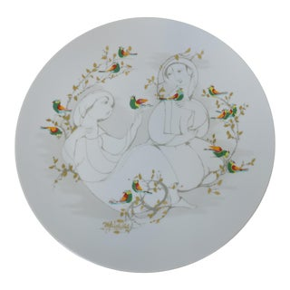 1970s Bjorn Wiinblad for Rosenthal Studio Linie Large Porcelain Charger Platter For Sale