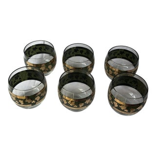 Vintage Cera Lowball Style Raised Gold & Green Glasses - Set of 6 For Sale