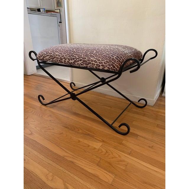 1990s Vintage Leopard Velvet Black Iron Bench For Sale - Image 11 of 13