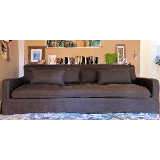 Restoration Hardware Belgian Slope Arm Slipcovered Down Sofa For Sale In Seattle - Image 6 of 6