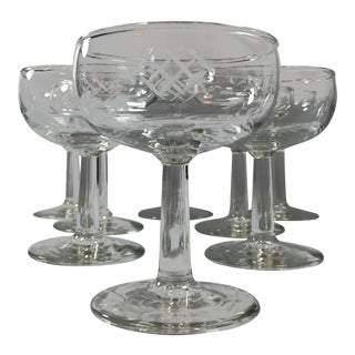 Mid-Century Etched Champagne Coupes - Set of 8 For Sale