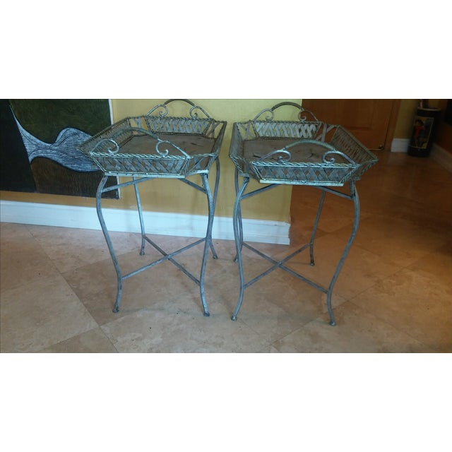 Silvery Indoor/ Outdoor Metal Tray Tables - Image 5 of 7