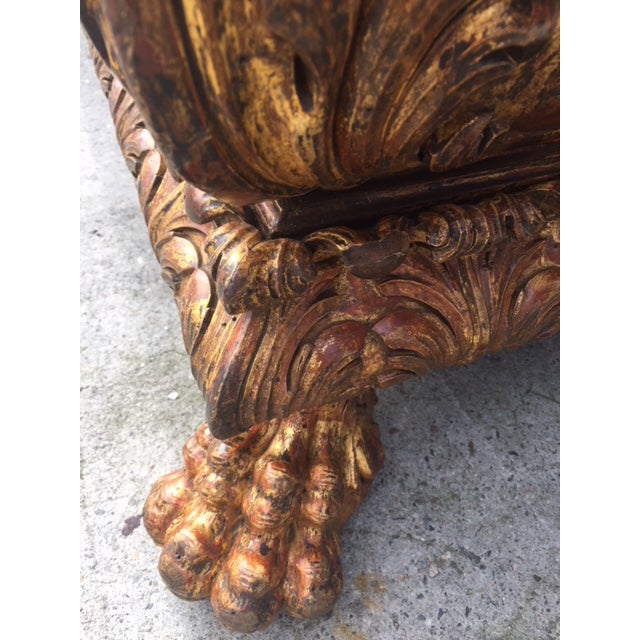 19th Century Italian Carved Giltwood & Painted Cassone For Sale In Los Angeles - Image 6 of 13