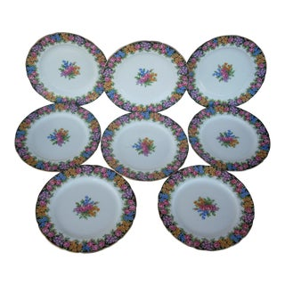 Early 20th Century Antique Paragon Chintz Plates - Set of 8 For Sale