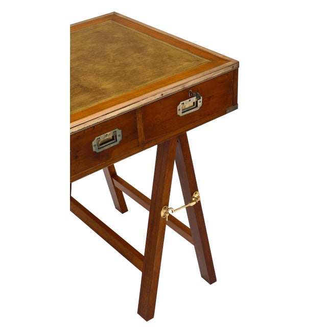 1940s Campaign Style Vintage Writing Desk For Sale - Image 5 of 10