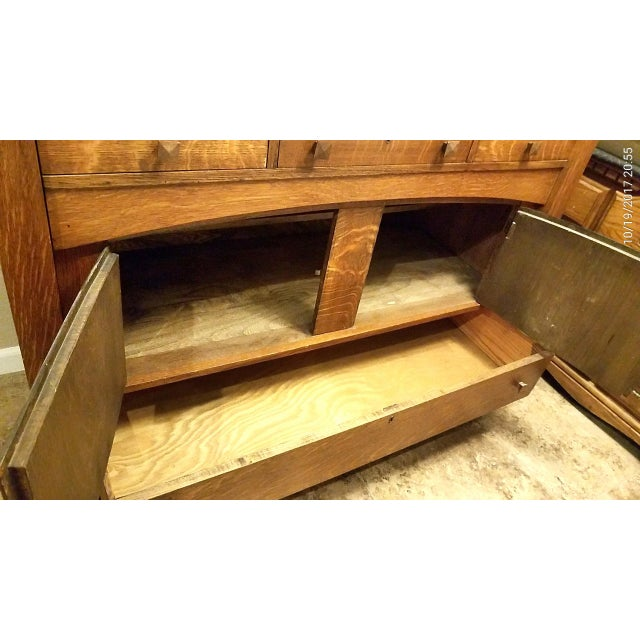 Antique Empire Tiger Oak Buffet For Sale - Image 5 of 7