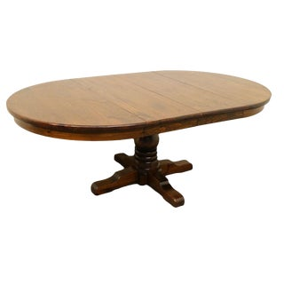 20th Century Traditional Ethan Allen Pine Old Tavern Pedestal Dining Table For Sale