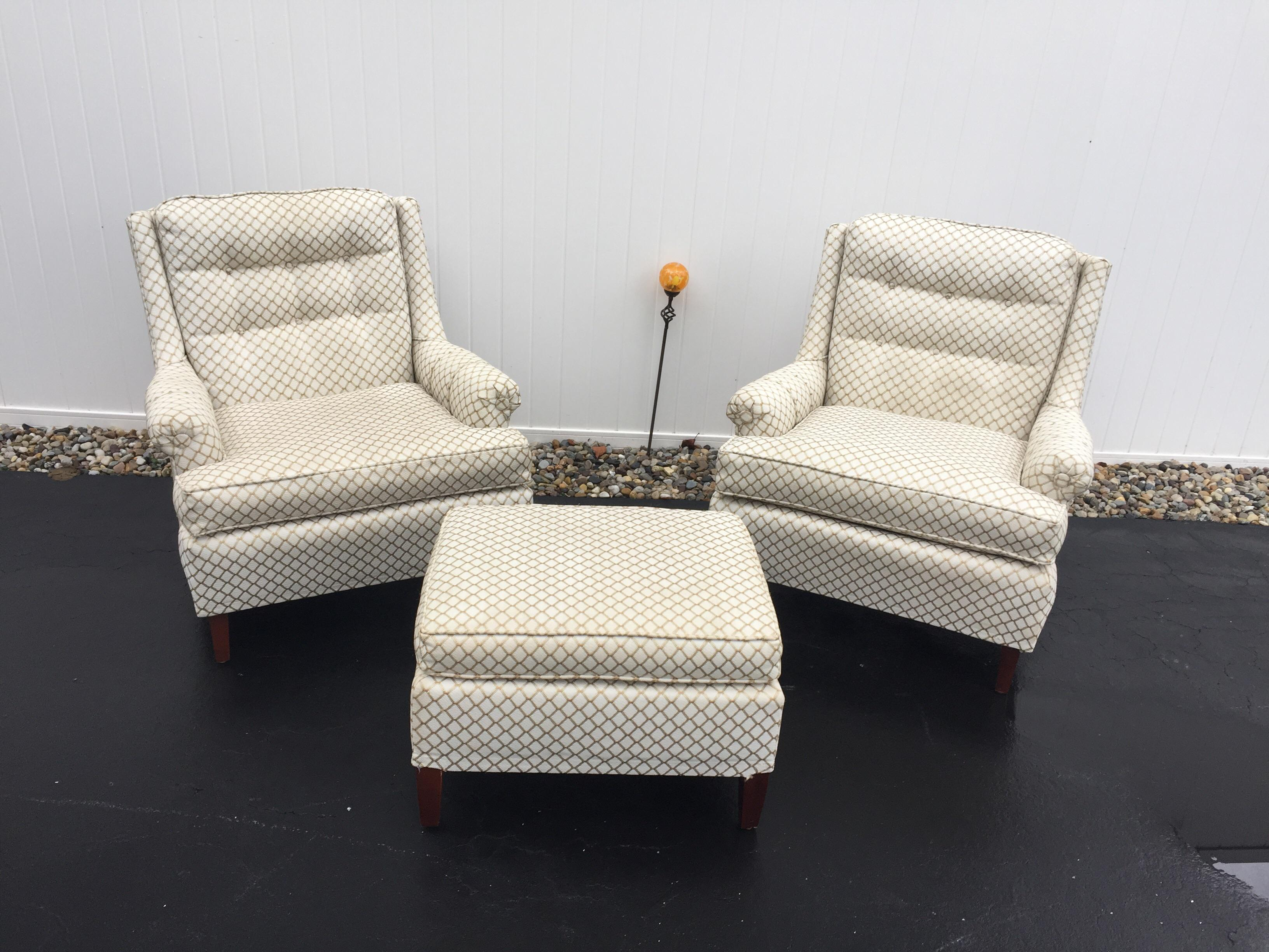 Vintage Pair Of Hollywood Regency Chairs With One Ottoman By Hammary. Chairs  Are From Late