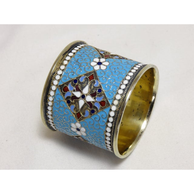 Antique Russian Silver Enameled Napkin Ring For Sale - Image 4 of 7