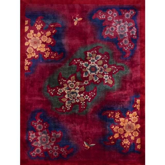 1930s 1930s Antique Chinese Art Deco Rug-10′ × 13′6″ For Sale - Image 5 of 5