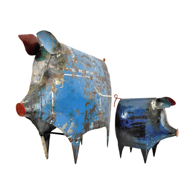 Recycled Metal Pig Sculptures - A Pair For Sale
