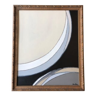 Mixed Media Framed Abstract Painting For Sale