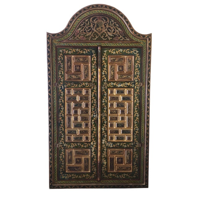 1940s Vintage Hand-Painted Ottoman Style Wood Panel / Door For Sale - Image 10 of 10